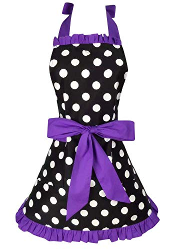 Kitchen Aprons Woman Retro Vintage Girl Polka Dot Cooking Pinafore Christmas Apron Dress (Dot Purple)