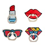 UnderReef Phone Holder Stand, Fashion Style Cell Phone Ring Holder 360 Rotation Hand Grip Stand Desk Car for iPhone Samsung Smartphone Tablet 4 Packs (Lipstick Red Lips Sunglasses Diamond)