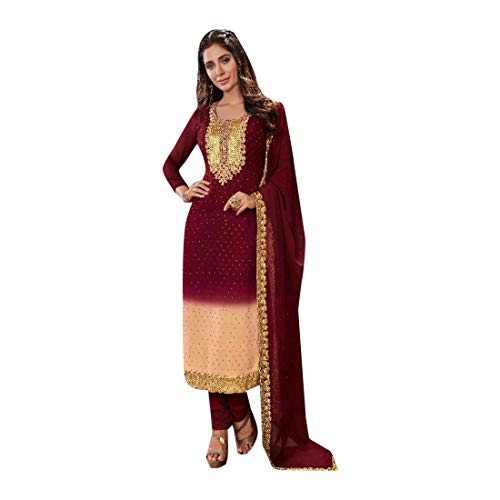 ETHNIC EMPORIUM New Indian Pakistani Straight Salwar Kamiz Kameez Suit Kurti Bollywood Girl Top Straight Pant Wedding Suit Georgette Damen Dirndl Hochzeit Frauen Party Women 2876