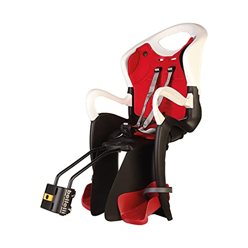 b bellelli Tiger - Siège arrière pour vélo - pour Les Enfants jusqu'à 22 kg, de 3 à 8 Ans - Fixation au Cadre - Blanc et Rouge