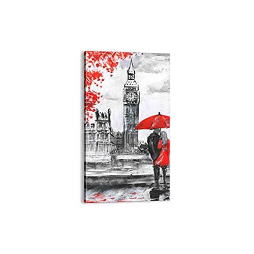 Quadro su tela - Elemento unico - Londra l'architettura il Big Ben - 45x80cm - Pronto da appendere - Home Decor - Stampe su Tela - Quadri Moderni - completamente incorniciato - PA45x80-3153