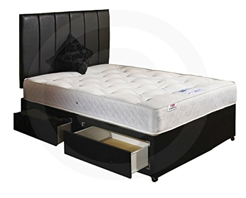 Small Double 4'0 Divan Bed 2 Drawers with Orthopaedic Mattress and Headboard.