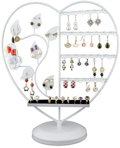 Grinscard Espositore Bijoux Forma di Cuore - Bianco 36 x 15 x 15 cm - Organizer per Raccogliere e Presentare Gioielli
