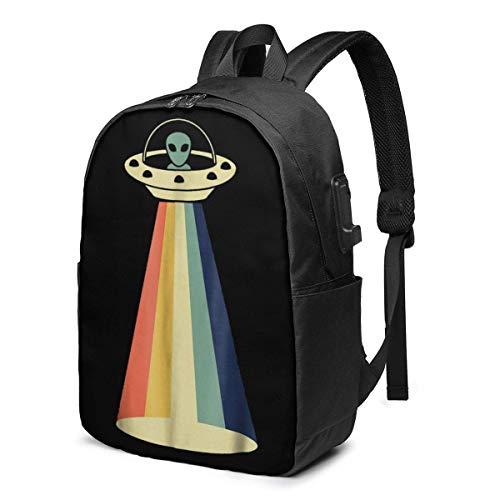 Hdadwy Vintage Alien USB Backpack 17 Inch Shoulder Bag Laptop Bag Fashion Rucksack