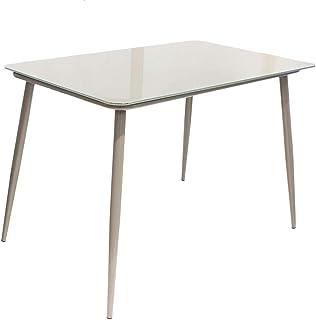 THE HOME DECO FACTORY HD6445 Table de Repas en Verre Gris, 115 x 70 x 75 cm