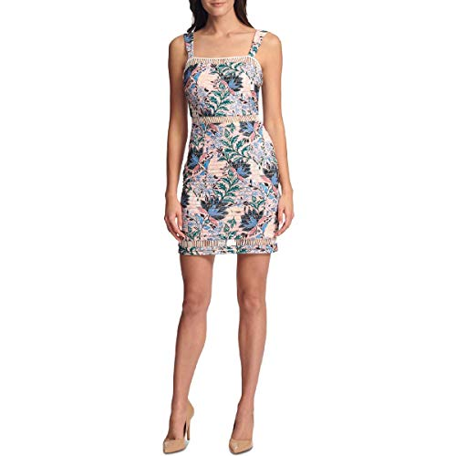 GUESS Womens Floral Sleeveless Bodycon Dress Pink 8
