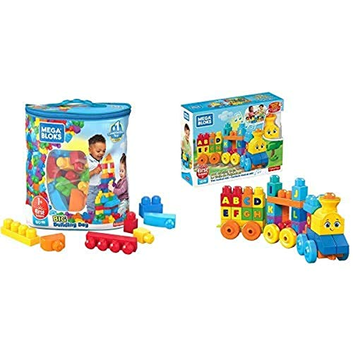 First Builders Big Building Bag AND Mega Bloks ABC Musical Train Building Set, 50 pieces