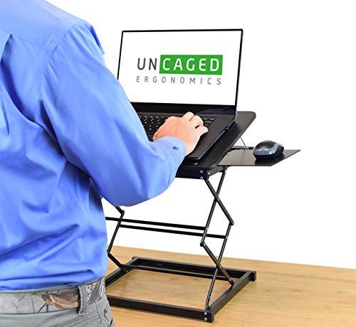 CD4 Portable Laptop Standing Desk Converter & Adjustable Laptop Desk Stand. Ergonomic sit Stand up Desktop Riser Topper Small Compact Mobile Tall Folding Height Angle tilt Workstation Attachment