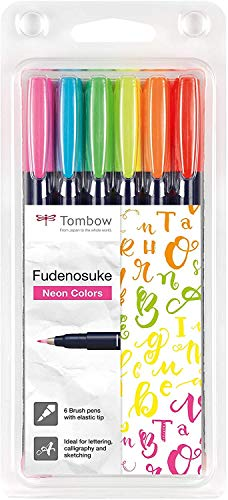 Tombow WS-BH-6P Brush Pen Fudenosuke Neon 6er-Set, harte Spitze