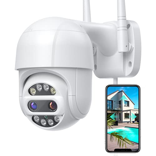 [Floodlights & 12X Zoom] PTZ Security Camera Outdoor with Color Night Vision, 360°View Pan/Tilt/Zoom, Motion Detection, Wi-Fi Camera for Home Security, Motion Tracking, IP66 Waterproof, Protect D1
