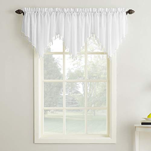 """No. 918 25909 Erica Crushed Texture Sheer Voile Beaded Ascot Rod Pocket Curtain Valance, 51"""" x 24"""", White"""