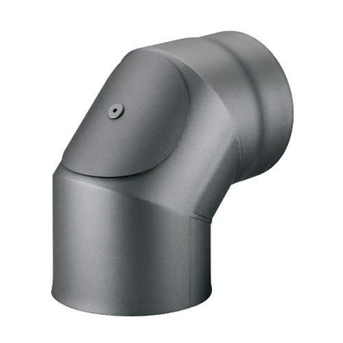 Möck Ofenrohr-Bogen 90° mit Tür, doppelwandig mit Dämmung, System Primus, 120 mm Gussgrau