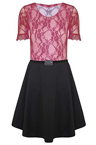 Fashion Star Damska kontrastowa koronkowa sukienka z paskiem