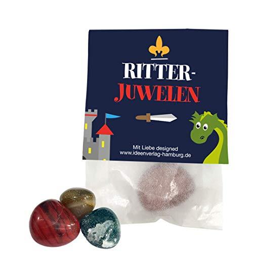 """10x \""""Drachen / Ritter\"""" Glückssteine / Glücksbringer \""""Ritter Juwelen\"""" als Mitgebsel zum Kindergeburtstag / Partytüten / Mitgebseltüten / Geschenktüten / Give-aways / Trommelsteine / Sammelsteine"""