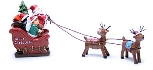 Weihnachtsmann mit Rentierschlitten Figur - Weihnachtsdeko Schlitten mit Rentieren