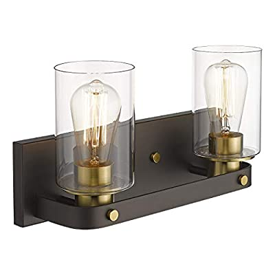 Emliviar 2-Light Bathroom Vanity Light, Oil Rubbed Bronze and Gold Finish with Clear Glass, YCE1901-2W ORB+BG