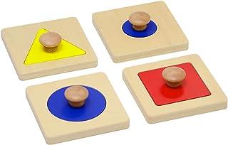 Elite Montessori Thick Single/Multiple Shape Jumbo Knob Puzzles Preschool Toddler Learning Material (Single Shape Puzzles)