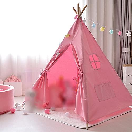 Fnho Tienda Tipi Interior y Exterior para niños,Castle Carpa Toy Play Tent Portable Plegable,Tienda de campaña para niños Indios, casa de Juegos Interior-D_1.2 x 1.2 x 1.6M