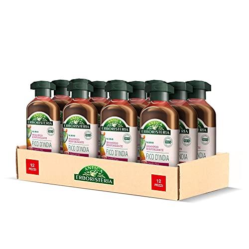 Antica Erboristeria Shampoo Rinforzante Fico D India, Shampoo Per Capelli Fini, Con Ingredienti Naturali, 12 Pezzi X 250 ml - 3000 ml