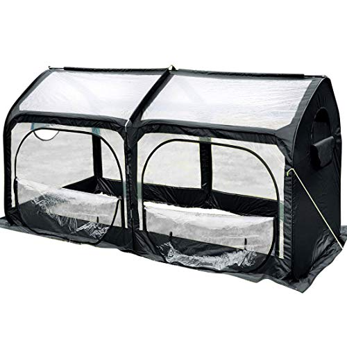 Quictent Mini Portable Greenhouse 98 x 49 x 53 Inches Pop up Grow House for Outdoor & Indoor Eco-Friendly Fiberglass Poles Overlong Cover 6 Stakes 4 Zipper Doors