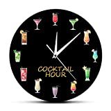 gongyu Reloj de Pared con Estampado de Hora de cóctel de Alcohol Colorido para Beber Alcohol Bar Pub Cartel Colgante Reloj de Pared para la decoración del hogar del Club de Cocina