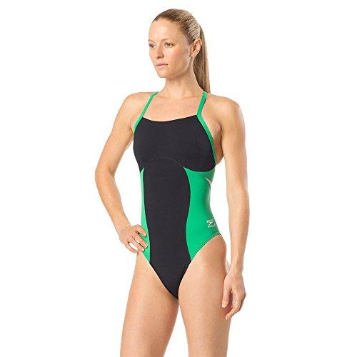 Speedo Women's Swimsuit One Piece Endurance+ Flyback Block Adult Team Colors, Spark Black/Green, 34