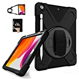 TSQ iPad 7th/8th Generation Case, iPad 10.2 Case 2019/2020 with Pencil Holder, Heavy Duty Shockproof Rugged Protective PC Case w/ Hand Strap/Stand/Shoulder Strap for iPad 7th/8th Gen,Black
