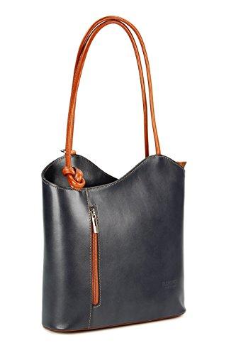 Belli® ital. Leder Handtasche Backpack aus feinstem Leder, auch auf dem Rücken tragbar in grau cognac - 28x28x8 cm (B x H x T)