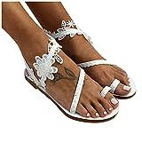 Celucke Donna Clip Toe Ciabatte con Piatta Stile Romano con Cinturino alla caviglia Sandali Vacanza Spiaggia Casuale Estivi Eleganti Moda Scarpe