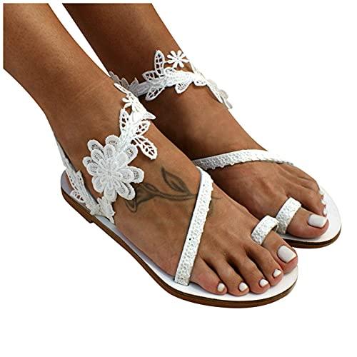 AZEWO Sandales de Plage d'été pour Femmes Sandales à Bout Plat bohème avec Fleur en Dentelle Blanche Plateforme Chaussures Plates Sandales