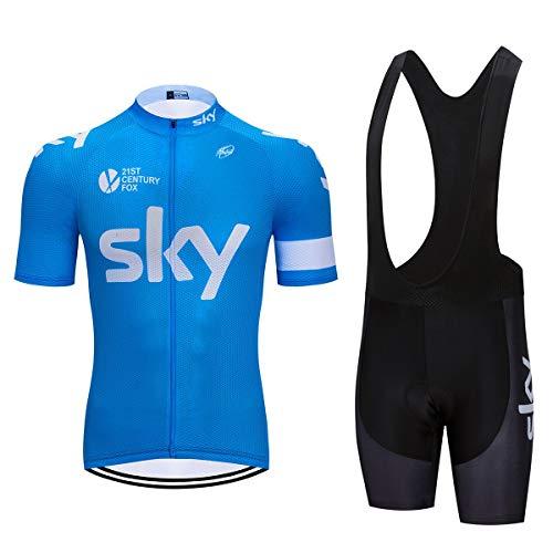 ZHLCYCL Conjunto Ropa Equipacion, Ciclismo Maillot y Culotte Pantalones Cortos con 5D Gel Pad para Verano Deportes al Aire Libre Ciclo Bicicleta, SK-1BLUE, XL