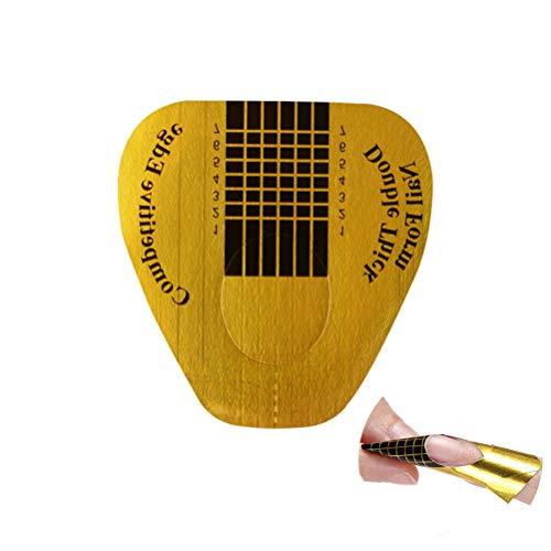 Lurrose 100pcs ongle jetable forme de clou doré autocollant de guide artistique pour acrylique UV ongles gel ongles manucure extension outil