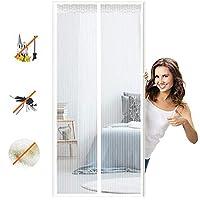 マグネット式網戸マグネット式れ 取付簡単に自動的に密閉蚊や虫電磁ドアり,適用最もするドア/ベランダ玄関/アパート ベランダ サッシドア 穴をあける必要がなく-White B  120x260cm(47x102inch)