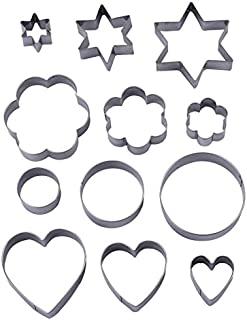 Bullidea Set Of 12 Stainless Steel Cookie Cutter Funny Fashion Novelty Star Flower Round Heart Shapes Christmas Fondant Cake Biscuit Ice Mold Tool