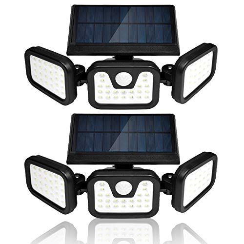 Viugreum Foco solar LED, Luz Solar Exterior, 70 LED Foco Solar con Sensor Movimiento Lámpara Solar Seguridad Impermeable IP67,Ajustable de 360° para Entrada Garaje Patio y Jardín 2 Unidades