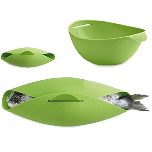 ROUHO Silicona Steamed Fish Bowl Vapor Microondas Cocción al Vapor Asado Alimentos Horno Hervidor de Agua Poacher Cooker Comida Vegetal Bowl Cesta Cocina Cocinando Herramientas