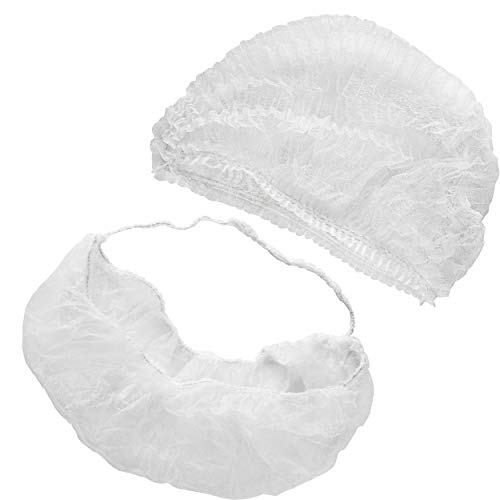 [100 Sets] 21 Inch Bouffant Hair Nets and Beard Protectors - Disposable White Latex Free Head Cap and Face Cover for Men Women, Cooking and Food Service