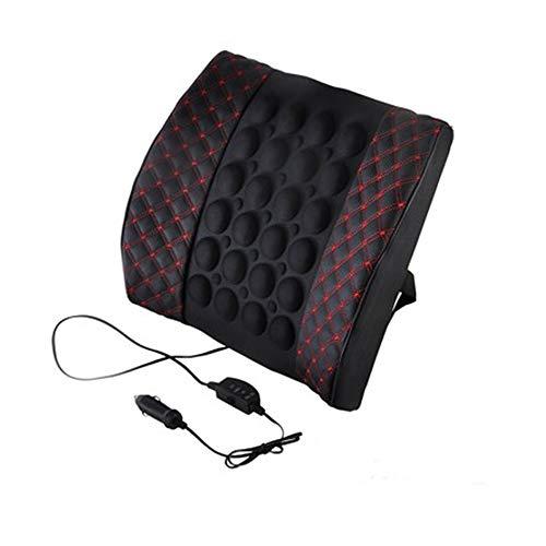 QIHANGCHEPIN Asiento de Coche Soporte Lumbar con DC 12 V Cargador de Coche Masaje Vibración Cintura Almohada Lumbar Respaldo Almohada Cojín Accesorios del Coche (Color : Red and Black)