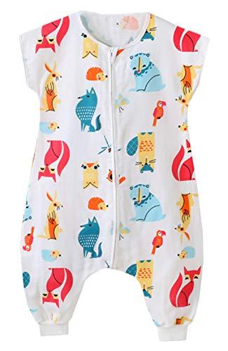 Bevalsa Unisex Baby Sommerschlafsack mit Beinen Kleine Kinder Schlafsack mit Füßen ohne àrmel Jumpsuit, Farbe 3, Etikett90/Koerpergroesse 95-105cm