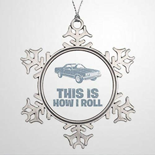 DONL9BAUER Christmas Ornament 1977 Chev-rolet El Cami-no Personalised Garden Holiday Tags Metal Snowflake Pendant Xmas Decor for Anniversary Christmas Tree Hanging