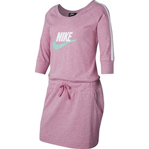 NIKE CJ7433-693 Dress, Magic Flamingo/Heather/Emerald Rise, XL Girls