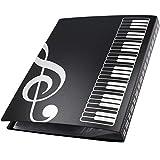 cartella per spartiti -yuesen cartelle portaspartiti per fogli in formato a4, cartella per spartiti musicali apribili quando si suonano strumenti, 40 pages(nero)
