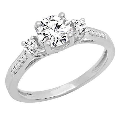 18K 6 MM Round Moissanite,White Sapphire & Diamond 3 Stone Engagement Ring,...