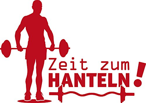 GRAZDesign Wandtattoo Zeit zum Hanteln Aufkleber Sport Sportler Motivation, Fitness, Fitnessraum (81x57cm//031 rot)