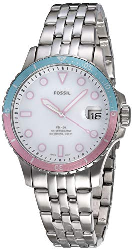 Fossil Women's FB-01 Quartz Watch with Stainless Steel Strap, Silver, 18 (Model: ES4741)