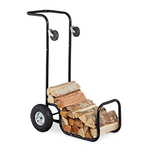 Relaxdays Kaminholzwagen, 2in1 Brennholzkarre & Feuerholzregal, aus Stahl, bis 50 kg, Transport & Aufbewahrung, schwarz