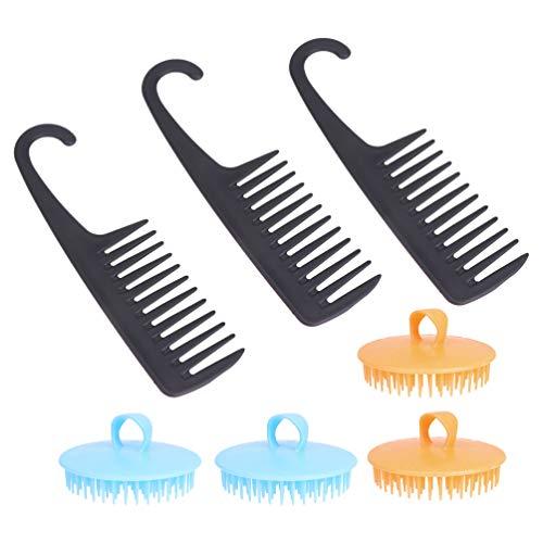 Minkissy 4 Pcs Cheveux Cuir Chevelu Masseur Couleur Aléatoire 3 Pcs Large Dent Peigne Noir Portable Massage de La Tête Lavage Des Cheveux pour Salon de Maison Hôtel