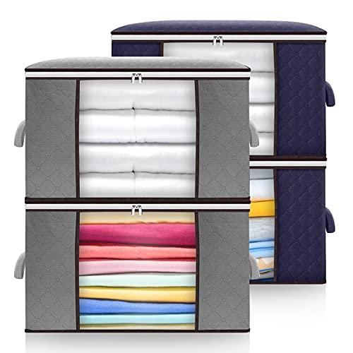 Samione Aufbewahrungstasche 4 Stück,Große Faltbare Kleideraufbewahrung mit verstärktem Griff und Zweiwege Reißverschlus, Vliesstoff Aufbewahrungsbeutel für Kleidung,Bettdecken, Kissen