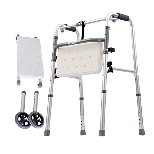 Z-SEAT Rollator Walker Standard Walker 8-Gang-Einstellung Gehbeweglichkeitshilfe Dual Mode Folding Walker für Senioren Abnehmbares Zubehör für die Rehabilitation von Reisen