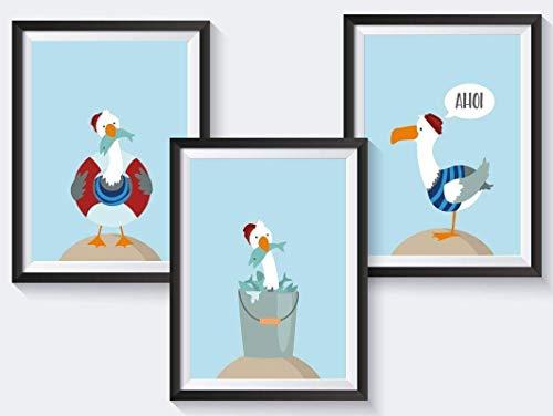 Bilder maritim Kinderzimmer | ohne Bilderrahmen | 3 A4 Kinderbilder | hochwertiger Druck | 300g schweres Papier | matte Oberfläche